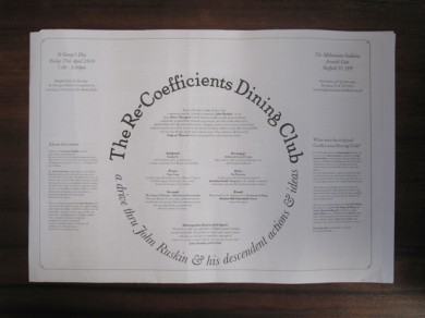 The Re-Coefficients Dining Club Placemat